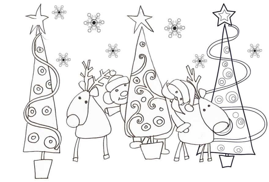 Super Renne con Babbo Natale da colorare - Cose Per Crescere MU51