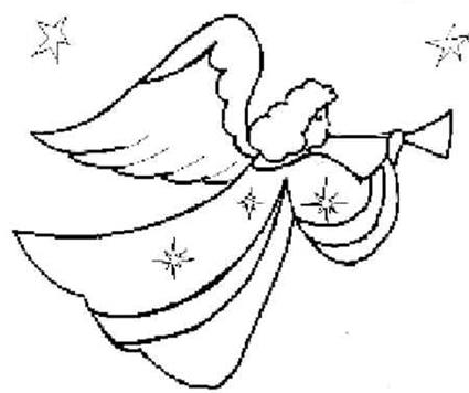 Disegno di un angelo con la tromba cose per crescere for Immagini angeli da colorare