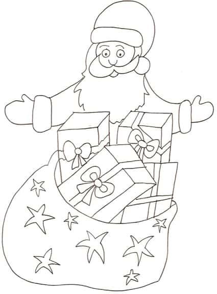 Regali Di Babbo Natale Giochi.Babbo Natale Con I Regali Da Colorare Cose Per Crescere