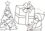 Disegno di Babbo Natale sotto l'albero