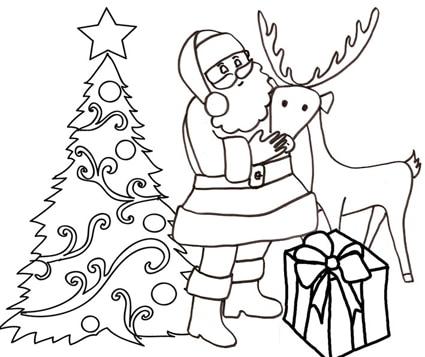 Babbo natale con la sua fedele renna da colorare cose - Babbo natale da colorare fogli da colorare ...