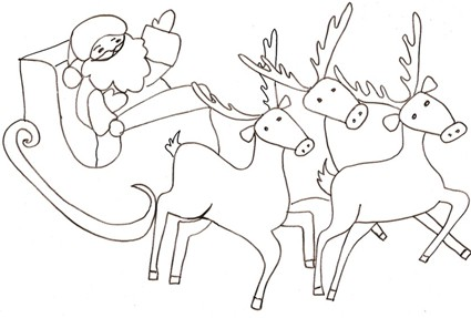 Disegno di Babbo Natale sulla slitta da colorare