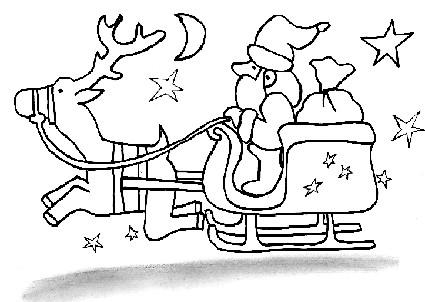 Slitta di babbo natale da colorare cose per crescere - Babbo natale porta i regali ai bambini ...
