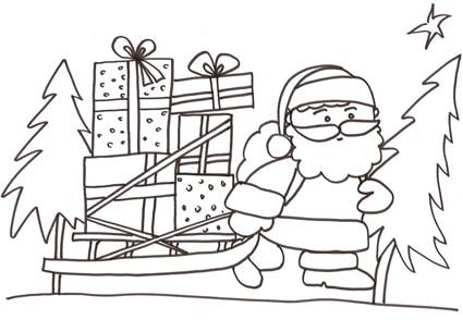 Disegno babbo natale con slitta da colorare for Disegni di natale facili per bambini