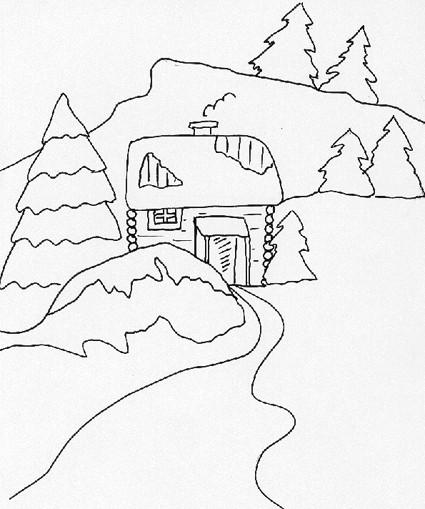 Baita inverno for Paesaggi facili da disegnare