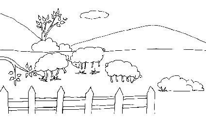 Campagna pecore for Paesaggio invernale da colorare