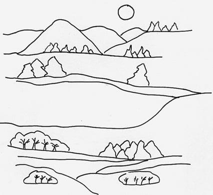 Disegno di un paesaggio di campagna cose per crescere for Disegni da colorare per adulti paesaggi