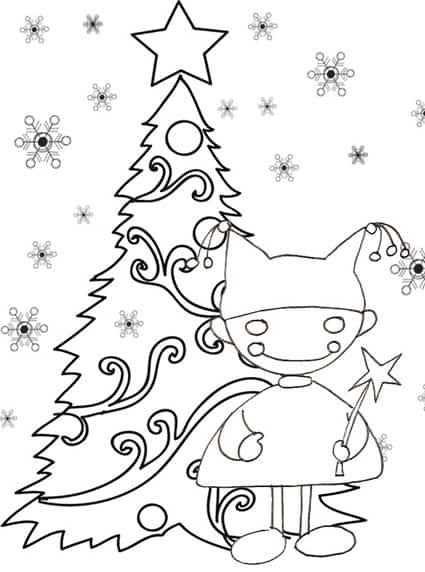 Elfo Davanti Ad Un Albero Di Natale Da Colorare Cose Per Crescere