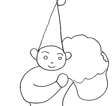 Elfo con sacco sulle spalle da colorare