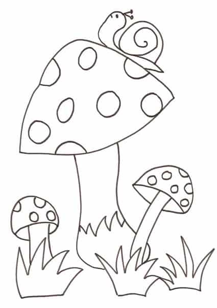 Funghi Con Lumaca Da Colorare Cose Per Crescere