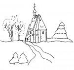 Paesaggio invernale da colorare