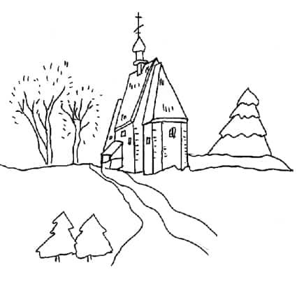 Paesaggio invernale da colorare cose per crescere for Paesaggi facili da disegnare