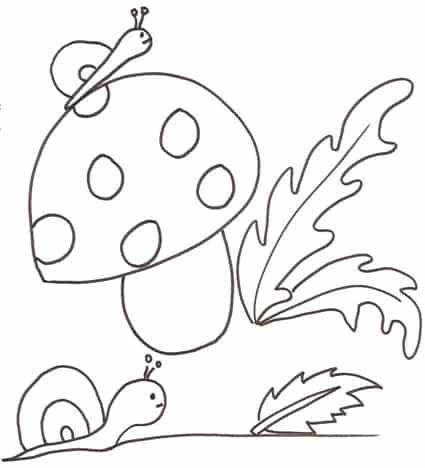 Lumache e fungo da colorare - Cose Per Crescere 40c3770205a9
