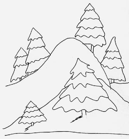Paesaggio di montagna in inverno da colorare cose per for Paesaggio invernale disegno