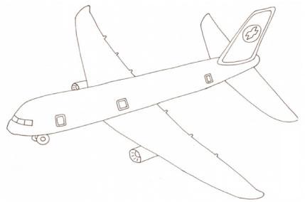 Disegno di aereo di linea da colorare