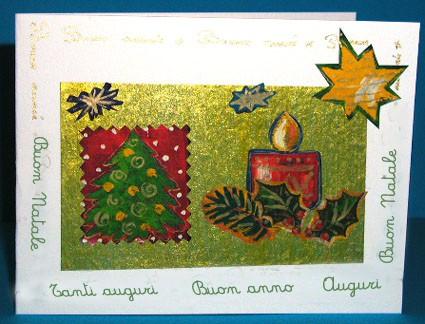 Biglietto auguri decorato con carta da regalo