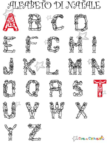 Alfabeto di natale da colorare