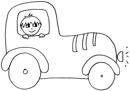 Disegno di macchina con bambino