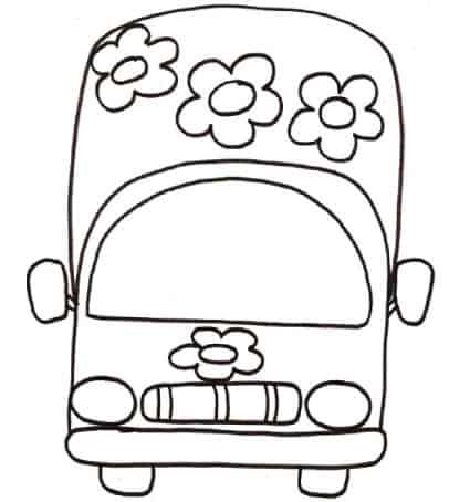 Disegno autobus con fiori