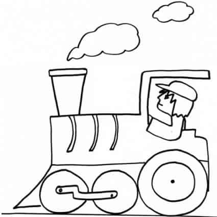 Disegno di locomotiva con macchinista da colorare