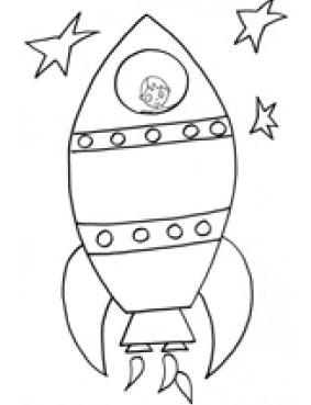 Astronave per bambini da colorare