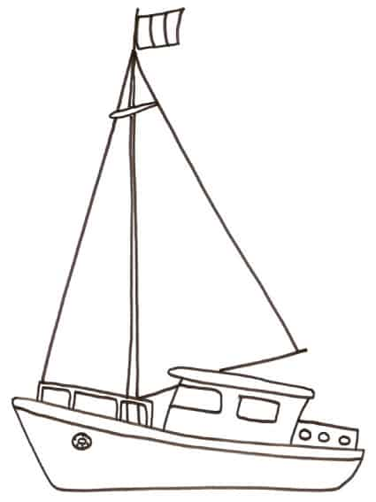 Disegno di barca a vela da pesca