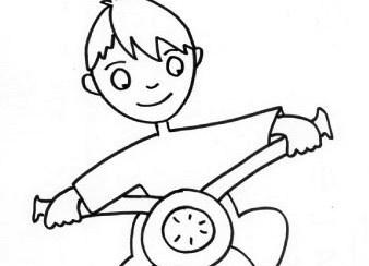 Bambino in moto da colorare