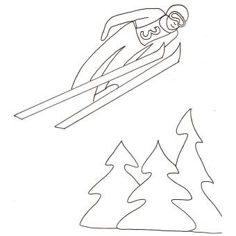 Disegno di salto con gli sci da colorare