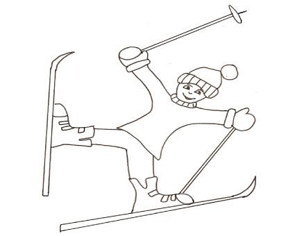 Sciatore buffo da colorare