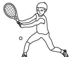 Bambino che gioca a tennis da colorare