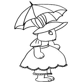 Coniglietta con ombrello da colorare