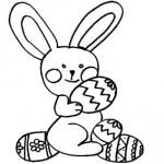 Coniglio con uova di Pasqua da colorare