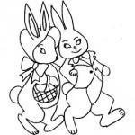Conigli pasquali da colorare