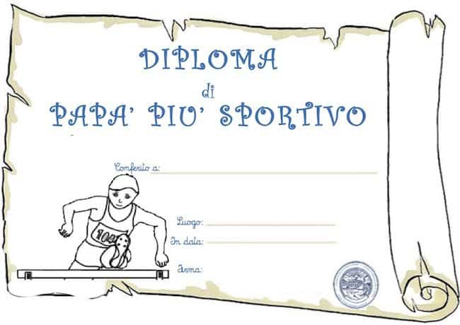 Diploma di papà sportivo da stampare
