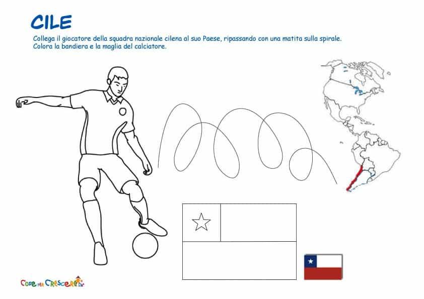 Disegno da colorare sulla squadra del cile ai mondiali