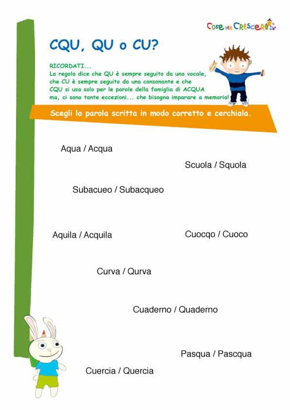 spesso Cqu, qu o cu esercizio d'italiano scuola primaria UE59