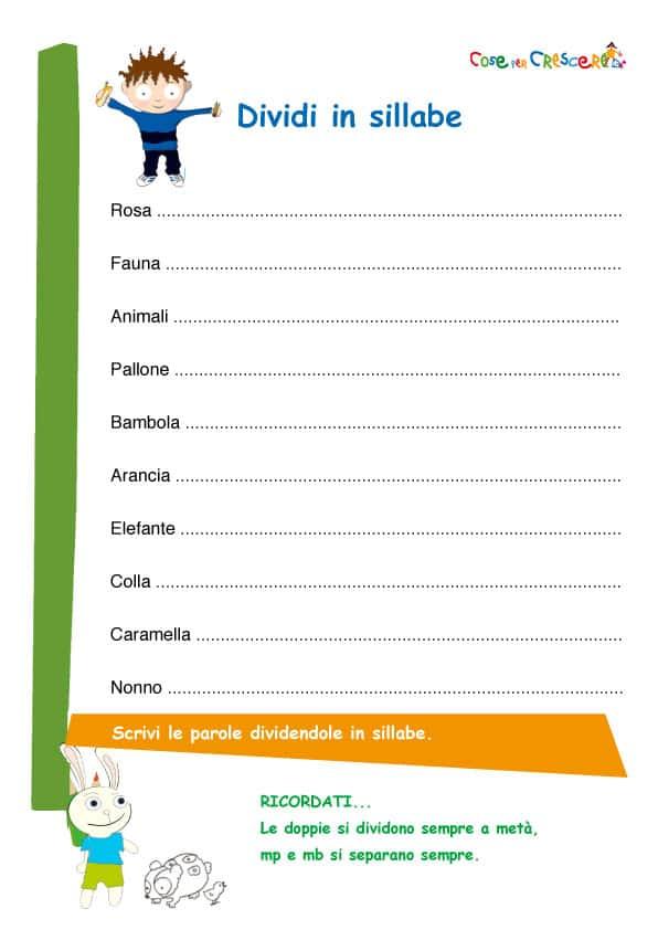 Top Dividere le sillabe esercizio scuola primaria BO26