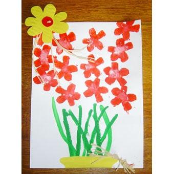 Fiori dipinti con stampino di patata for Immagini di fiori dipinti