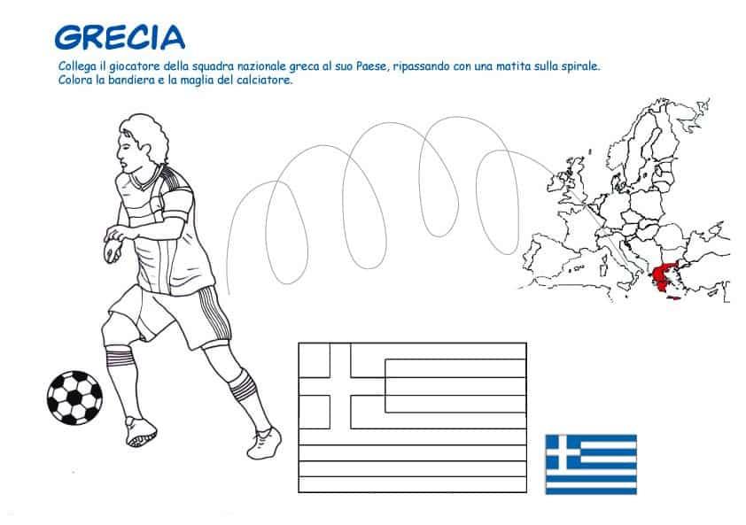Calciatore E Bandiera Greca Da Colorare Cose Per Crescere
