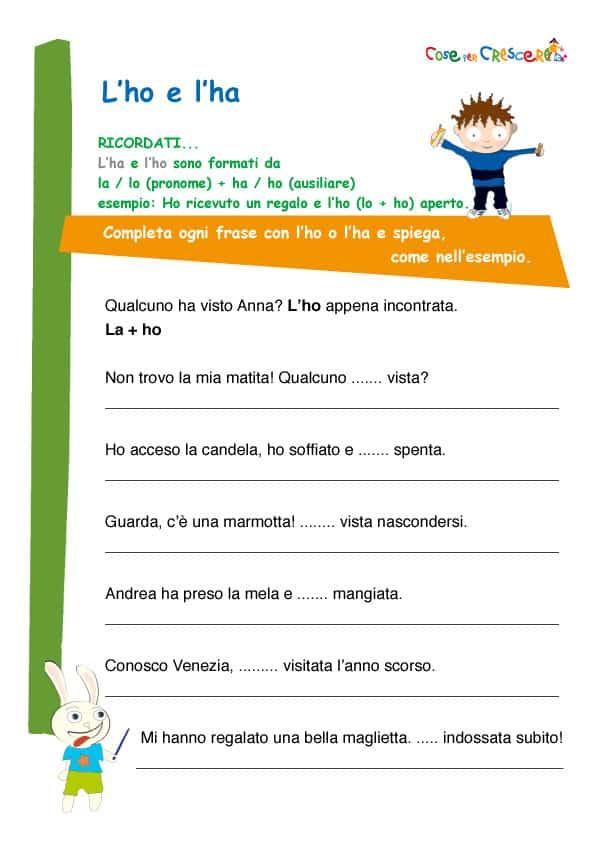 Preferenza L'ho e l'ha esercizio d'italiano per la scuola primaria KW76