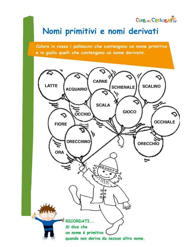 Nomi Primitivi E Nomi Derivati Esercizio Per La Scuola Primaria