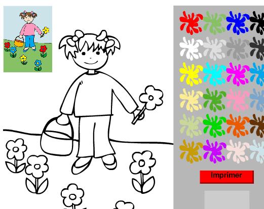 Bambina e fiori da colorare