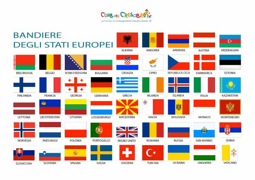 Bandiere europee da stampare
