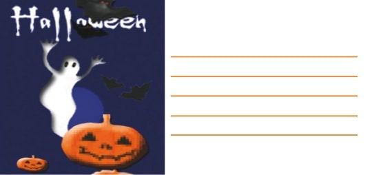Biglietto Halloween con fantasma e zucca