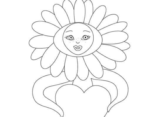Margherita con cuore da colorare