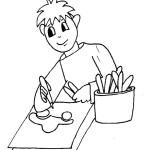 Ragazzo che disegna da colorare