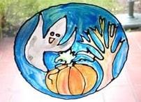 Vetrata di Halloween in plastica dipinta