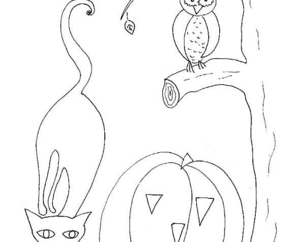 Zucca, gufo e gatto di Halloween da colorare