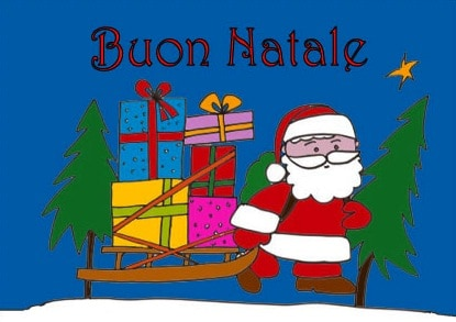 Babbo Natale con la slitta: auguri di Natale