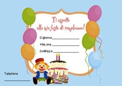 Invito per una festa di compleanno